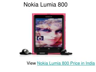 Nokia Lumia 800 in India - price and features