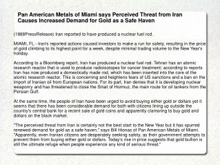 Pan American Metals of Miami says Perceived Threat from Iran