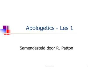 Apologetics - Les 1