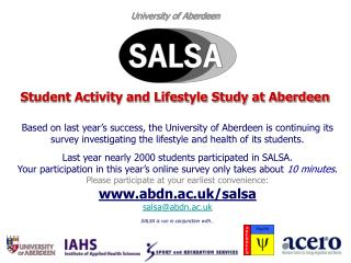 University of Aberdeen Student Activity and Lifestyle Study at Aberdeen