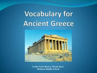 Vocabulary for Ancient Greece