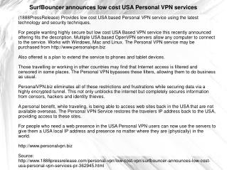 SurfBouncer announces low cost USA Personal VPN services
