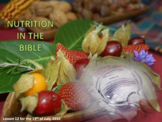 NUTRITION  IN  THE BIBLE