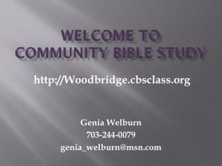 Welcome to  Community bible study