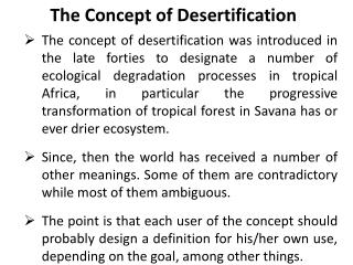 The Concept of Desertification