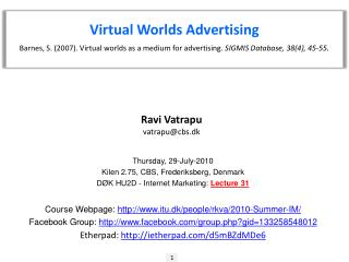 Virtual Worlds Advertising