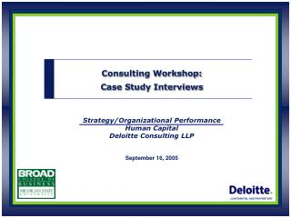 Strategy/Organizational Performance Human Capital  Deloitte Consulting LLP