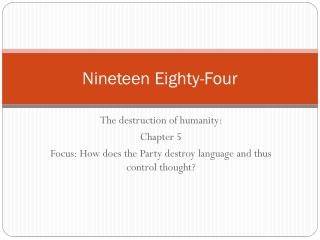 nineteen eighty four essay questions This paper discusses george orwell's nineteen eighty four, focusing on the rivalry between winston and big brother george orwell, author of nineteen eighty four , in 1921 joined the indian imperial police but seven years later resigned having come to hate imperialism.