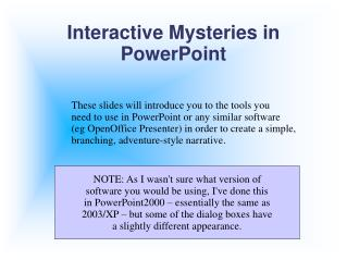 Interactive Mysteries in PowerPoint