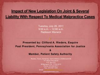 Impact of New Legislation On Joint & Several Liability With Respect To Medical Malpractice Cases