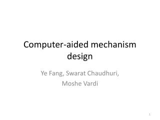 Computer-aided mechanism design
