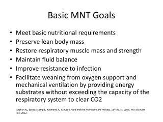 Basic MNT Goals