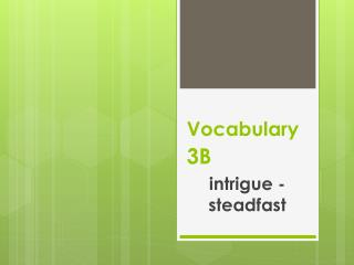 Vocabulary 3B