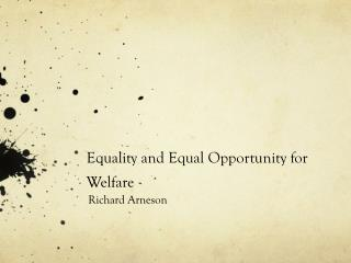 Equality and Equal Opportunity for Welfare
