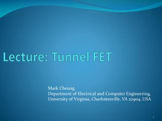 Lecture: Tunnel FET