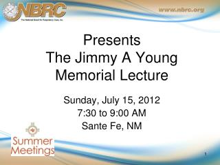 Presents The Jimmy A Young  Memorial Lecture