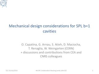 Mechanical design considerations for SPL b=1 cavities