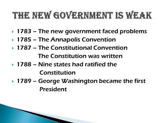 The New Government is Weak