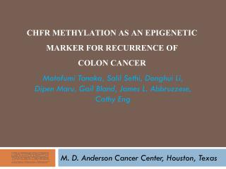 CHFR Methylation as an Epigenetic Marker for Recurrence of  Colon  Cancer