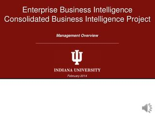 Enterprise Business Intelligence Consolidated Business Intelligence Project