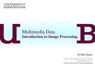 Multimedia Data Introduction to Image Processing