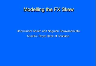 Modelling the FX Skew