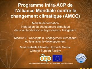 Programme Intra-ACP de  l'Alliance Mondiale contre  le  changement climatique  (AMCC)