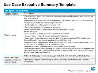 Use Case Executive Summary Template