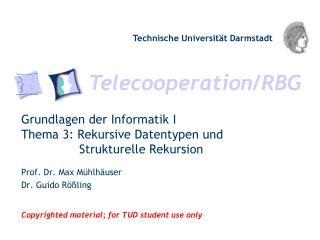 Grundlagen der Informatik I Thema 3: Rekursive Datentypen und        Strukturelle Rekursion