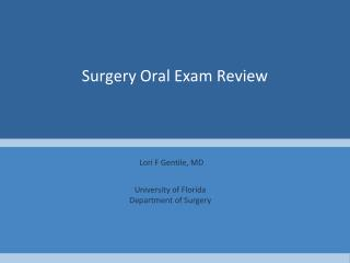 Surgery Oral Exam Review