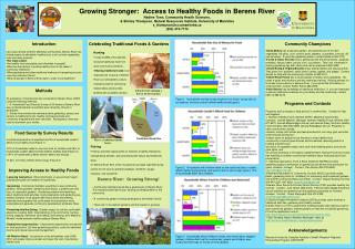 Growing Stronger:  Access to Healthy Foods in Berens River Nadine Tonn, Community Health Sciences,