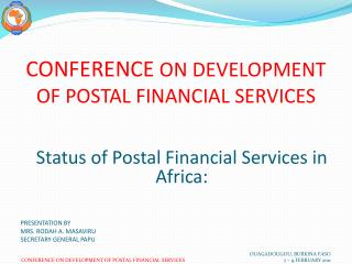 CONFERENCE  ON DEVELOPMENT OF POSTAL FINANCIAL SERVICES