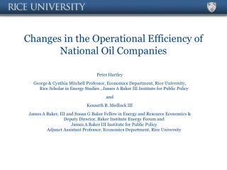 Changes in the Operational Efficiency of National Oil Companies