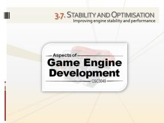 3 . 7. Stability and Optimisation