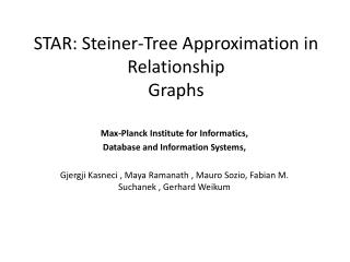 STAR: Steiner-Tree Approximation in Relationship Graphs