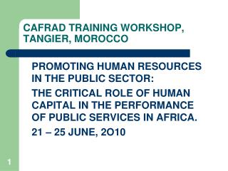 CAFRAD TRAINING WORKSHOP, TANGIER, MOROCCO