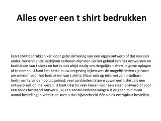 Alles over een t shirt bedrukken