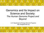 Genomics and Its Impact on Science and Society: The Human ...