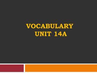 vocabulary  Unit 14a