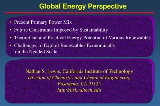 Global Energy Perspective