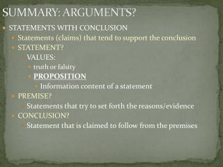 SUMMARY: ARGUMENTS?