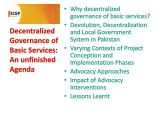 Decentralized Governance of Basic Services: An unfinished Agenda