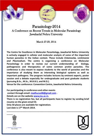Parasitology-2014 A Conference on Recent Trends in Molecular  Parasitology