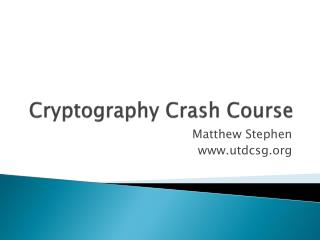 Cryptography Crash Course