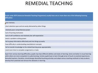 REMEDIAL TEACHING