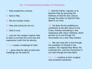 The 12 fundamental principles of Christianity