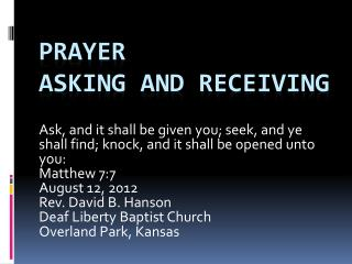 Prayer Asking and receiving
