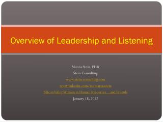 Overview  of  Leadership and Listening