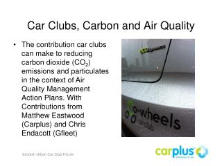 Car Clubs, Carbon and Air Quality