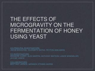 The effects of microgravity on the fermentation of honey using yeast